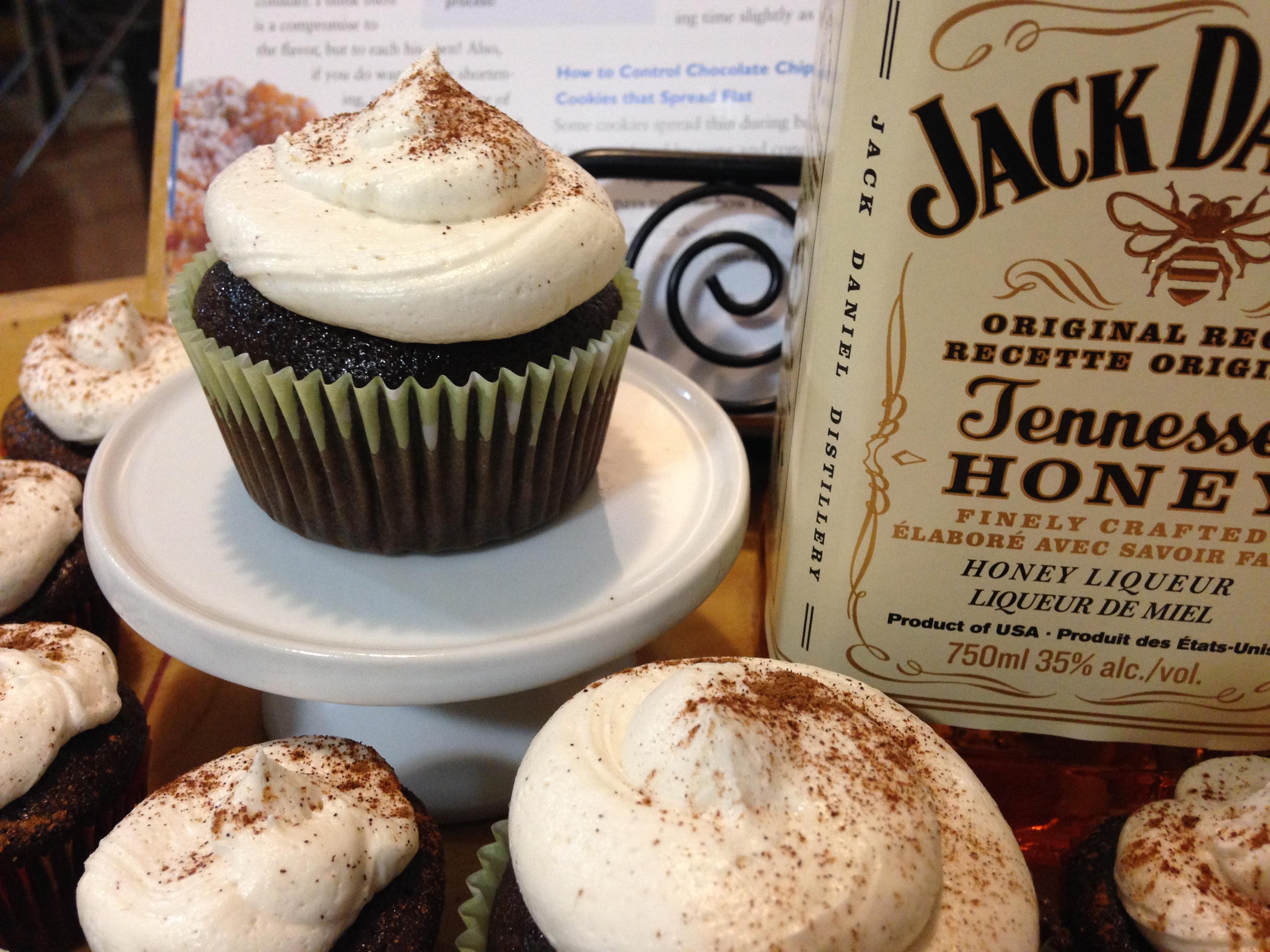Chocolate Honey Jack Daniels Cupcakes w/ Honey